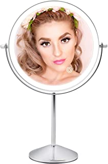 FASCINATE Rechargeable Lighted Makeup mirror with 3 Color Lights, 8 Inch 1x/10x Magnifying Double Sided Led Vanity Mirror, 10x Magnification Cosmetic Mirror Tabletop Cord/Cordless