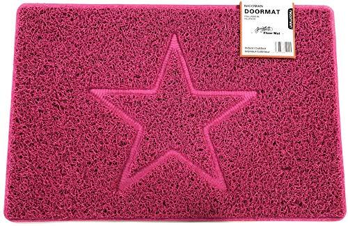 Nicoman Estrella Felpudo Logotipo en Relieve Rizos de Vinilo Entrada Bienvenido Lavable Alfombra-(Usar en Interiores y Exteriores), Pequeño (60x40cm), Rosa