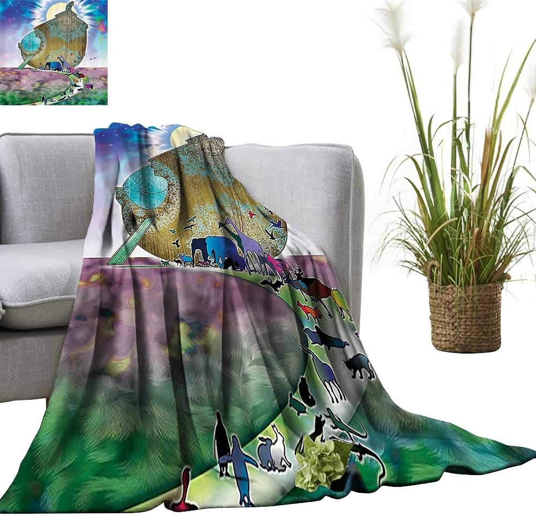 YOYI Super Soft Blanket Noahs Ark Myth ThemedShip with All Couple Animals The Shore Sacred Bedsure Flannel 50 x70