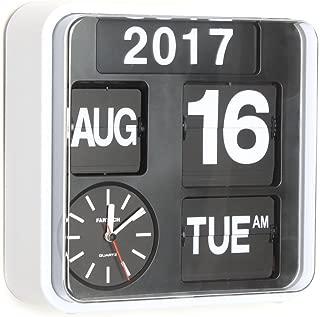 homeloo Fartech Retro Modern 9.5 Inches Calendar Auto Flip Desk Wall Clock (White)