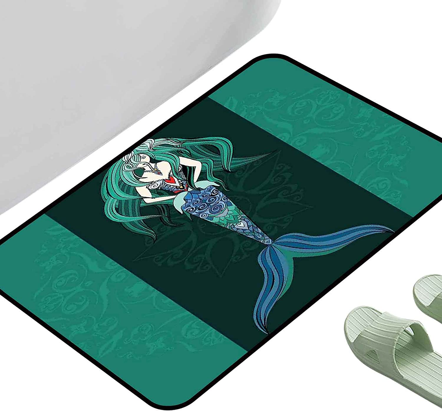 Water Absorption Rug Mermaid 35% OFF Hand Ornate Backdr Drawn Superior on