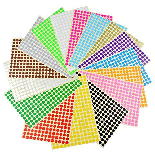 Runde Punktaufkleber,Farbetiketten 6mm Dot Klebepunkte 16 Farben/Blatt Farbkodierung Etikette 6120 Stück Markierungspunkte