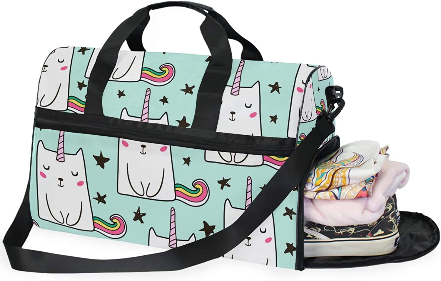 91bc6a806 Cute Cats Sports Gym Bag with Compartment Travel Duffel Bag for Men and  Women shoes Unicorn noxsol1768-Sporting goods