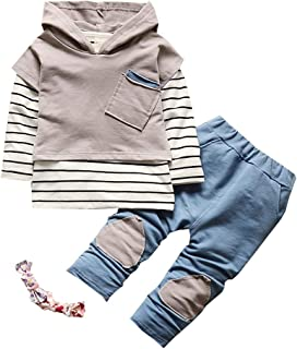 3Pcs Kids Boys Girls Stripe Shirt T-Shirt Patchwork Pants Clothes Set Spring Autumn Summer Outfit