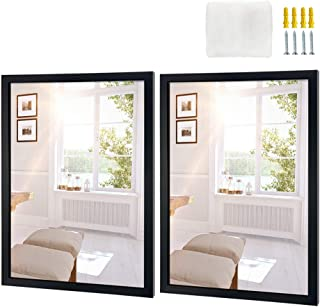 Edenseelake Wall Mirror 18x24 Inch Rectangle Set of 2, Black Framed Mirror for Wall Hanging Mirrors for Bathroom, Bedroom, Living Room