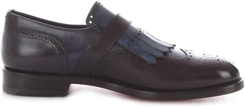 Santoni Herren MCC013976MC1HTRGU59 Blau Leder Monk-Schuhe