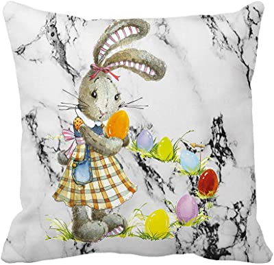 Amazon.com: Conejo y estampado de flores decorativa Funda de ...