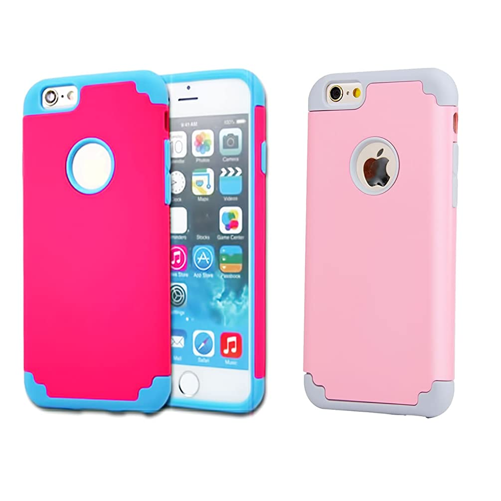 iPhone 6/6s Case,[2 Pack] iBarbe 2 in 1 Hybrid Heavy Duty Rubber PC Shockproof Protective Case with Reinforced Hard Protection Bumper Frame for iPhone 6 6s (4.7 inch) phone-Red+Pink