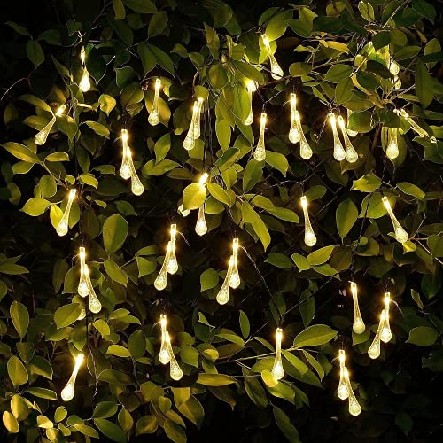 HFRR Solar Light Outdoor Garden Warm Colour LED Solar Teardrop Fairy Tale String Light Waterproof Crystal Raindrop Holiday Decoration Lights of The Tree in The Garden Terrace Yard