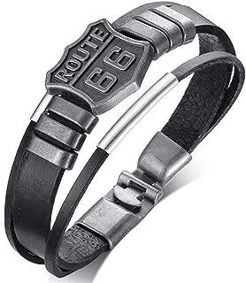 Sxuefang Mens Bracelets,Route 66 Mother's Road Leather Bracelet, Alloy Vintage Bracelet 20.5cm