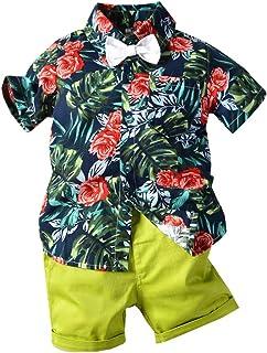 Shusuen_baby Boys Gentleman Outfits Suits Infant Short Sleeve Shirt with Shorts Summer Hawaiian Beach Clothes Set