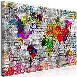 murando Cuadro en Lienzo Mapamundi 90x60 cm 1 Parte Impresión en Material Tejido no Tejido Impresión Artística Imagen Gráfica Decoracion de Pared Mapa Aspecto Abstracto de ladrillo k-C-0115-b-a