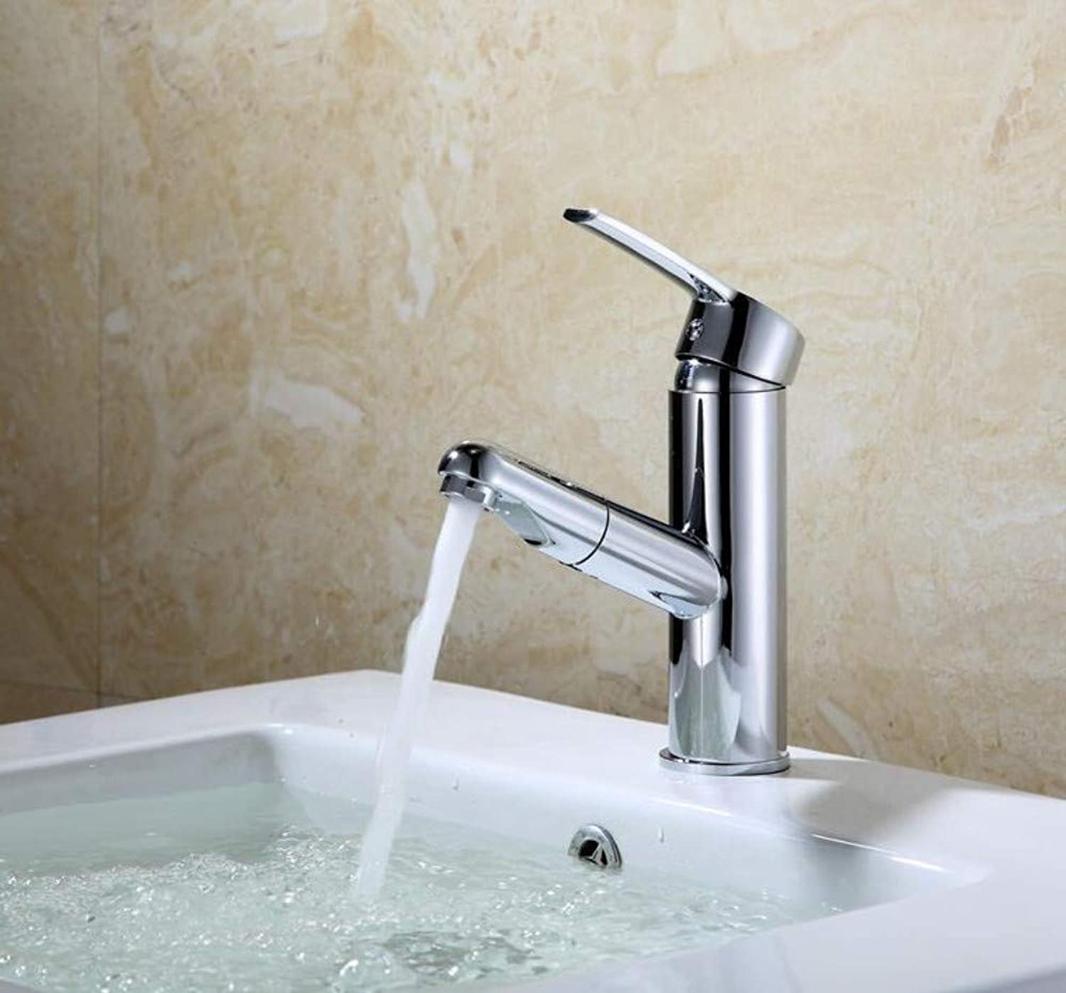 Copper Pull Faucet hot and Cold wash Basin wash Basin Single Hole Basin Faucet Washable Telescopic Faucet