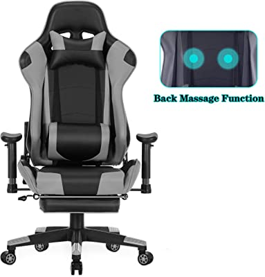 HEALGEN Back Massage Gaming Chair with Footrest,PC Computer Video Game Racing Gamer Chair High Back Reclining Executive Ergonomic Desk Office Chair with Headrest Lumbar Support Cushion GM002 (Grey)