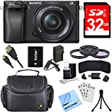 Sony ILCE-6300 a6300 4K Mirrorless Camera with 16-50mm Power Zoom Lens Bundle with 32GB Memory Card,...