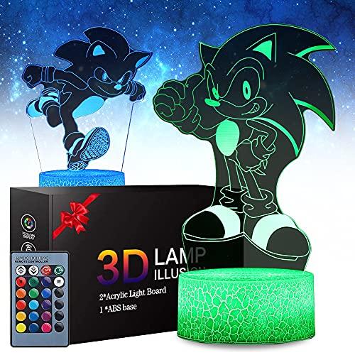Luz Nocturna De Anime 3d Hedgehog Para Niños, Juguete De Erizo De 3 Patrones, 16 Colores Que Cambian Con Control Remoto, Regalos De Cumpleaños Para Niños y Fanáticos Del Erizo