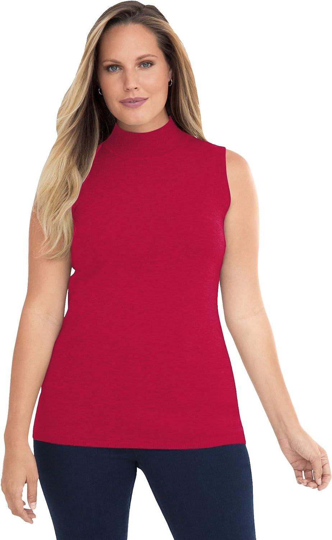 Jessica London Women's Plus Size Fine Gauge Mockneck Sweater Sleeveless Mock Turtleneck