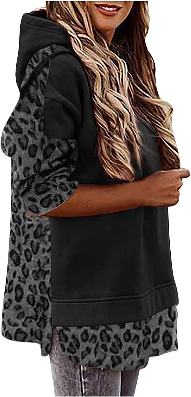Women's Patchwork Leopard Hooded Sweatshir Batwing Long Sleeve Loose Oversized Pullover Casual T-Shirt Blouse Tops