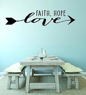 "Design with Vinyl RAD V 361 3 Faith Hope Love Home Decor Living Room Bedroom Picture Art Decal, 20"" x 40"", Black"