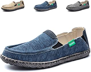 Mens Canvas Shoes Fashion Slip on Deck Shoes Boat Shoes Non Slip Casual Loafer Flat Outdoor Sneakers