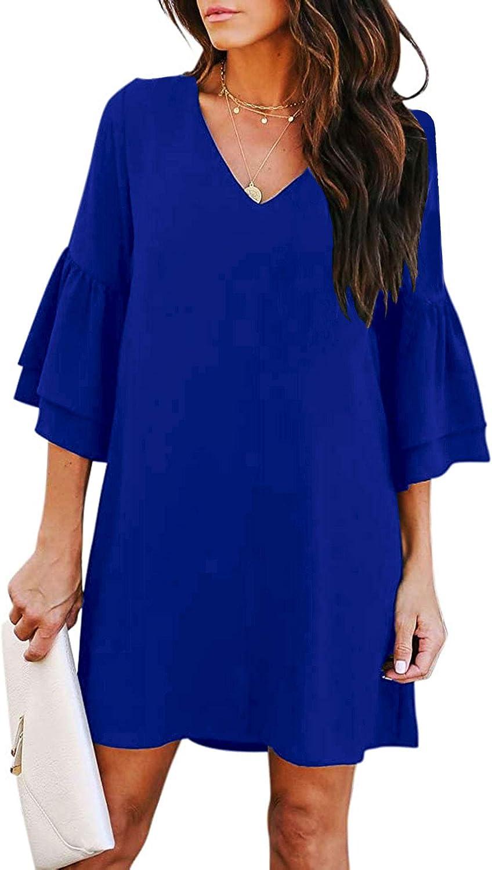 SHENBOLEN Women's V-Neck Bell Sleeve Dress Sweet & Cute Casual Dress Short Sleeve Dress