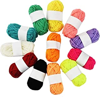 Dainerisy 12pcs Kids DIY Knitting Crochet Yarns Multicolor Handcrafts Colorful Craft Sewing Thread Crafting Yarn Random Color