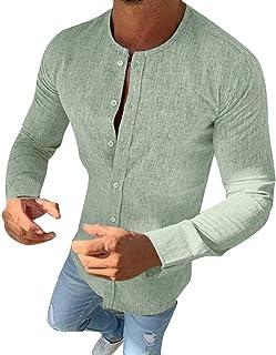 comprar comparacion Explosión Otoño Moda Color Sólido El Botón Cuello Redondo Mezcla De Algodón Hombre Manga Larga Camisa Ocio Cárdigans Hombr...