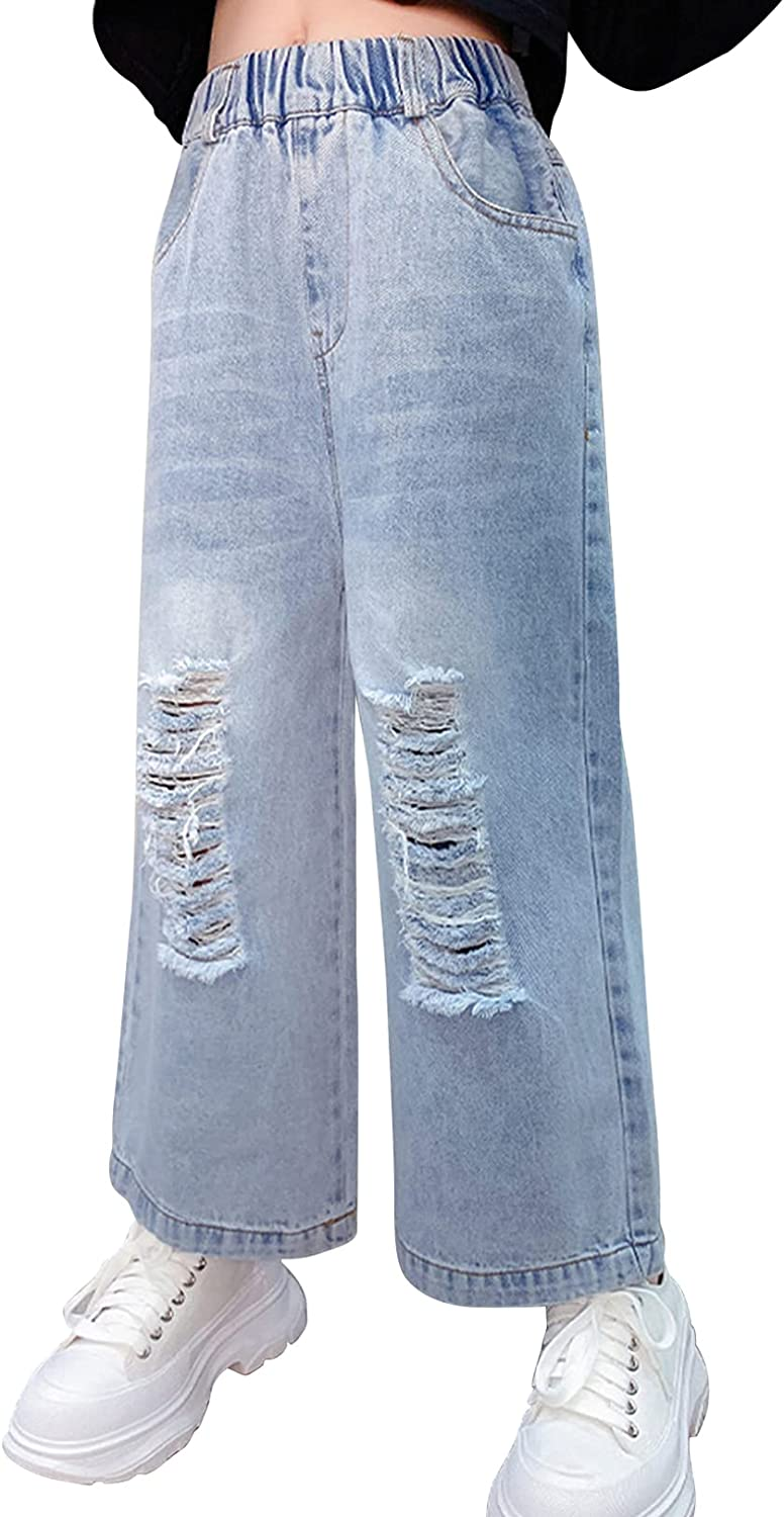 FEESHOW Girls Kids Ripped Distressed Over item handling Denim Jeans Free shipping anywhere in the nation Wide Pants