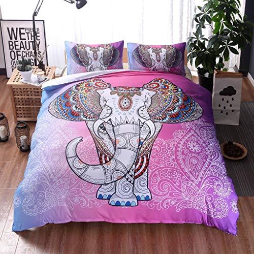 TONGDAUR Meeting Story 3PC India Bohemian Trooster sprei Elephant Boho Mandala microfiber Quilt Bedding Sets (Color : Pink, Size : 200 * 230)