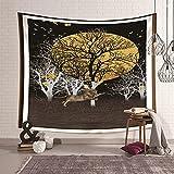 KnSam Tapiz de pared, diseño de bosque de luna y león de poliéster, 300 x 260 cm, color negro y amarillo