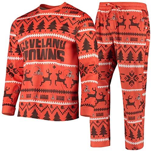 FOCO NFL Winter Xmas Pyjama Schlafanzug - Cleveland Browns - L