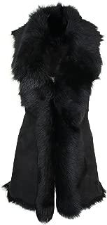 Ladies Women Real Spanish Toscana Shearling Sheepskin Black Leather Waistcoat Gilet Black XS-8