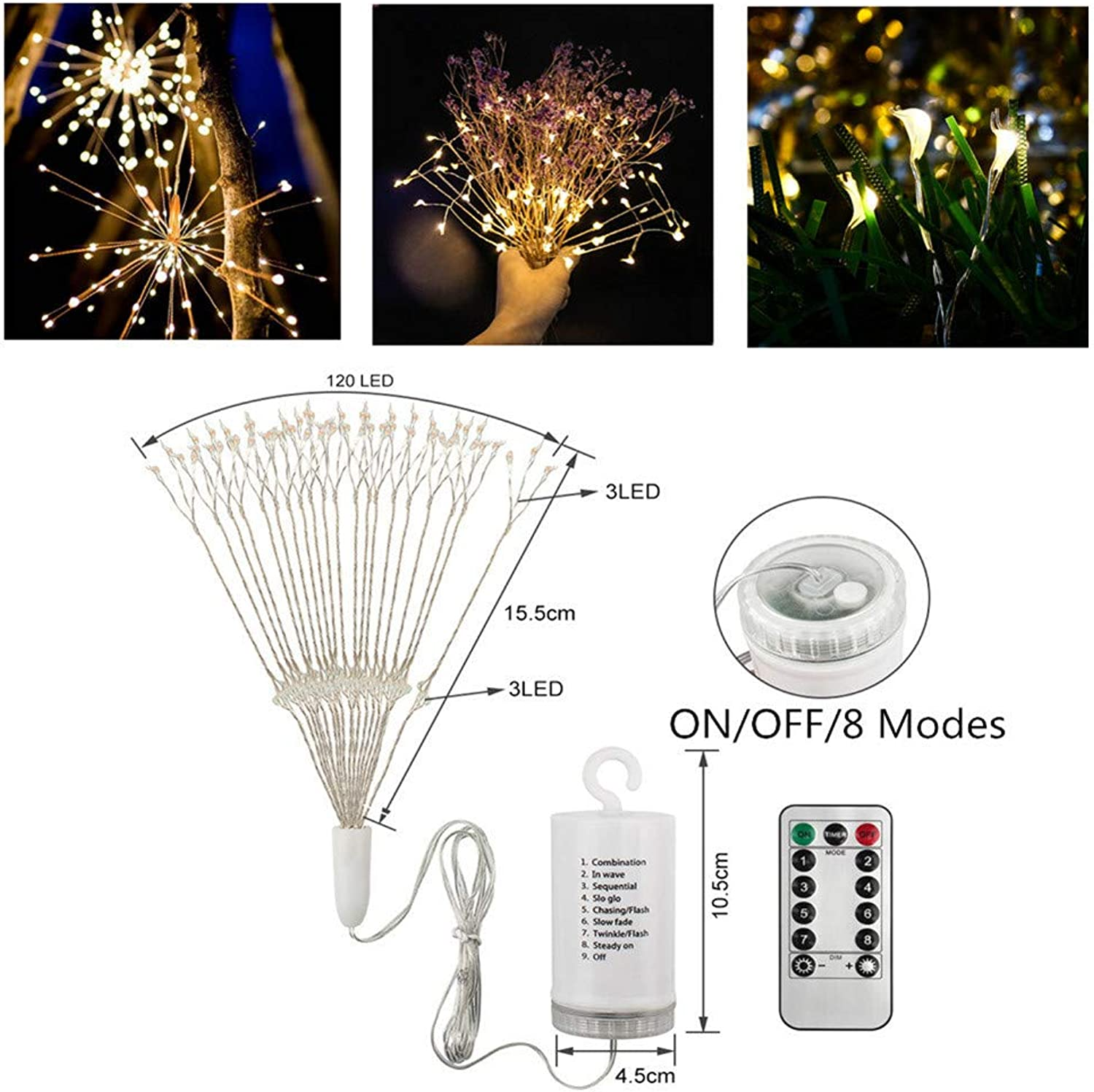 String Light for Bedroom,INorton Battery Powered Christmas Outdoor LED Fireworks Lamps,IP65 Waterproof Remote Control Garden Decoration Spotlight