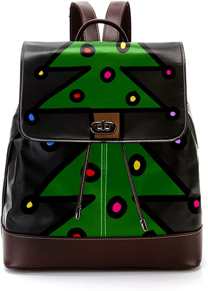 Christmas Tree PU Leather Backpack Fashion Shoulder Bag Rucksack Travel Bag for Women Girls
