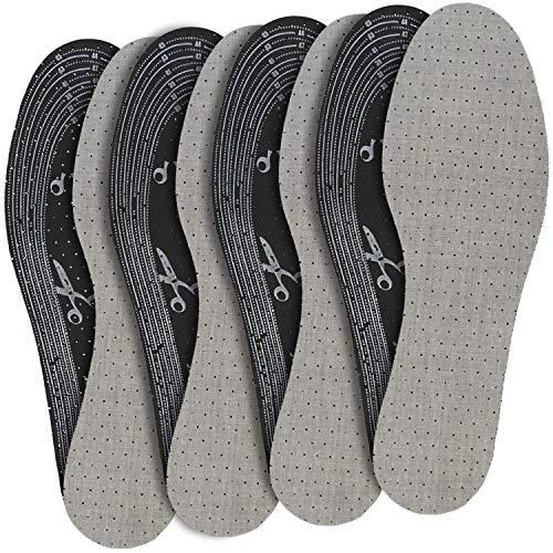 jaQob Semelles Chaussures Charbon Actif 4 paires - Semelle Anti Odeur Chaussure - Semelle Anti Transpiration - Semelles charbon actif, semelles chaussures anti odeurs découpable