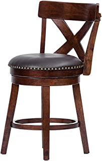 Furgle 24 inch Swivel Bar Stool Solid Wood Upholstered Counter Height Bar Stool PVC Leather Cushioned Seat w/Brass Nailhead Studs Wooden Dining Chair for Kitchen Island, Counter, Pub or Bar - Espresso