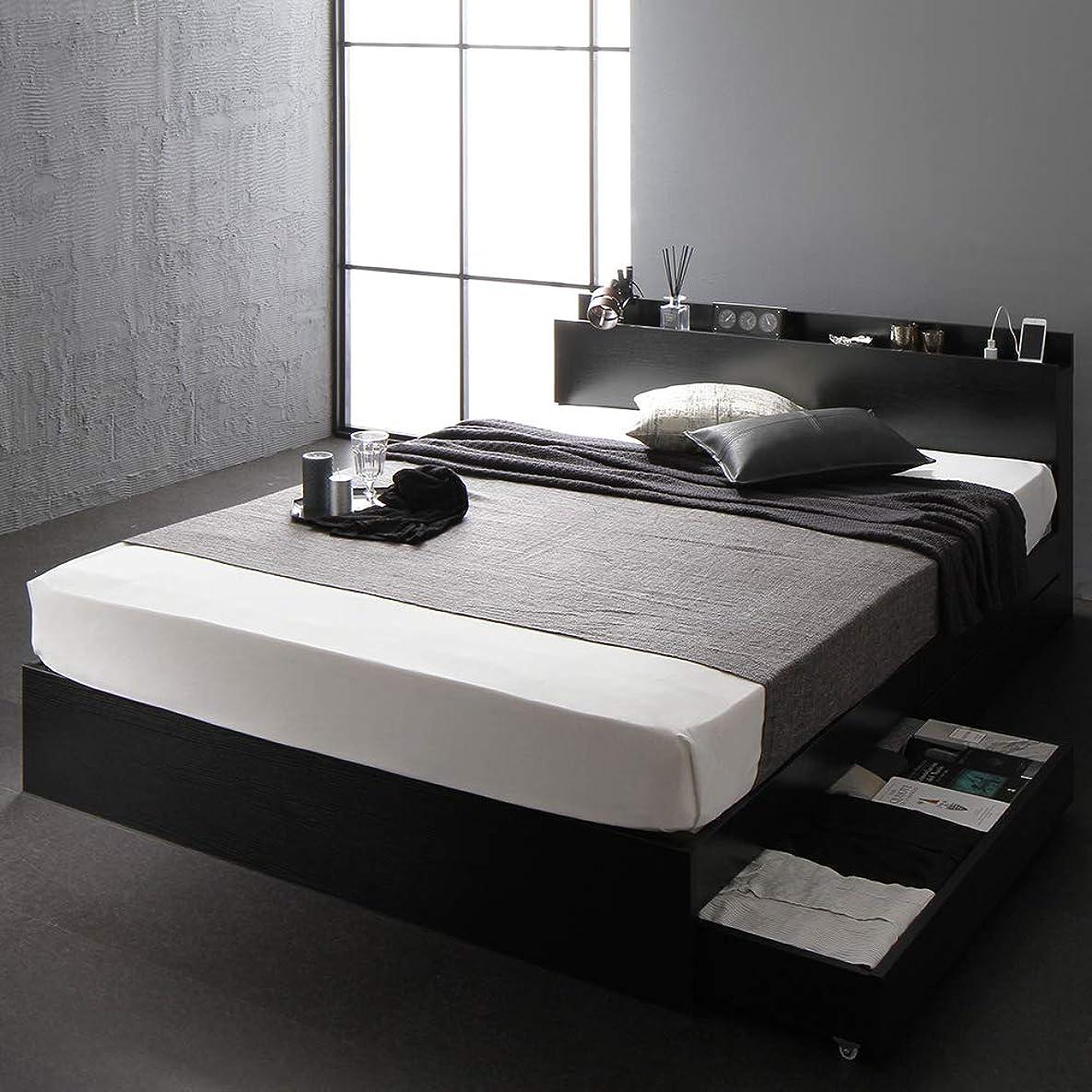 無人企業生産的ベッド 収納付き ダブル ブラック ベッドフレーム ポケットコイルマットレス付き ハイクオリティモダン 木製ベッド キャスター付き 引き出し付き 宮付き コンセント付き