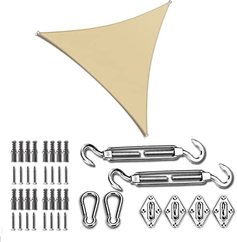 discount ColourTree sale 14' x 14' wholesale x 14' Beige Sun Shade Sail with Triangle Hardware Kit (Hardware Kits Only) online