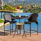 Oyster Bay Outdoor Wicker Round Bar Table (Only) with Ice Pail by Brown Modern Contemporar...