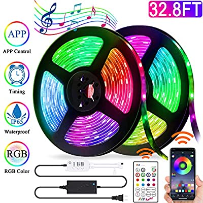 Led Strip Lights, Bluetooth APP Control Waterproof 32.8ft SMD 5050 RGB LED Lights Strip Color Changing Rope Lights Sync to Music with IR Remote for TV, Party, Home Decoration Tape Lights