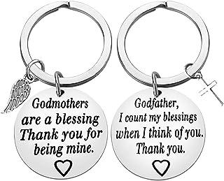 Godparent Gifts from Godchild,Godmother Keychain Godfather Keychain Christening Godmother Godfather Baptism Jewelry Godmot...