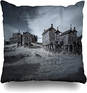Ahawoso Throw Pillow Cover Square 16x16 Country Blue Lindoso Granite Corn Granaries Medieval Black Castle Agriculture Nature White Cereal Design Zippered Cushion Case Home Decor Pillowcase