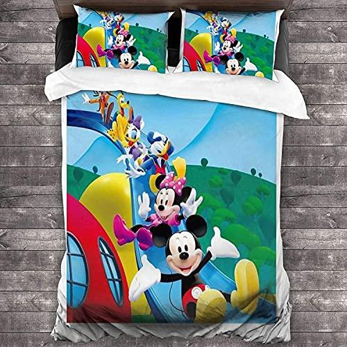 QWAS Juego de ropa de cama Mickey Mouse, adecuado para niños y niñas, adecuado para todas las estaciones (A02,200 x 200 cm + 80 x 80 cm x 2).