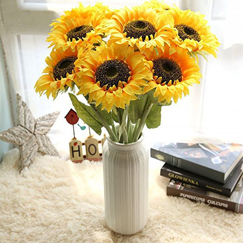 Fasclot Artificial Flowers Sunflower Floral Wedding Bouquet Party Home Decor Artificial Decorating Wedding Party (Yellow)