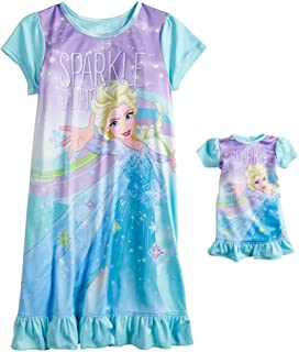 Disney Girls' Frozen Elsa Nightgown with Matching Doll Gown