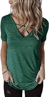 MK988 Women's V-Neck Short Sleeve Criss Cross Slim T Shirt Blouse Tops