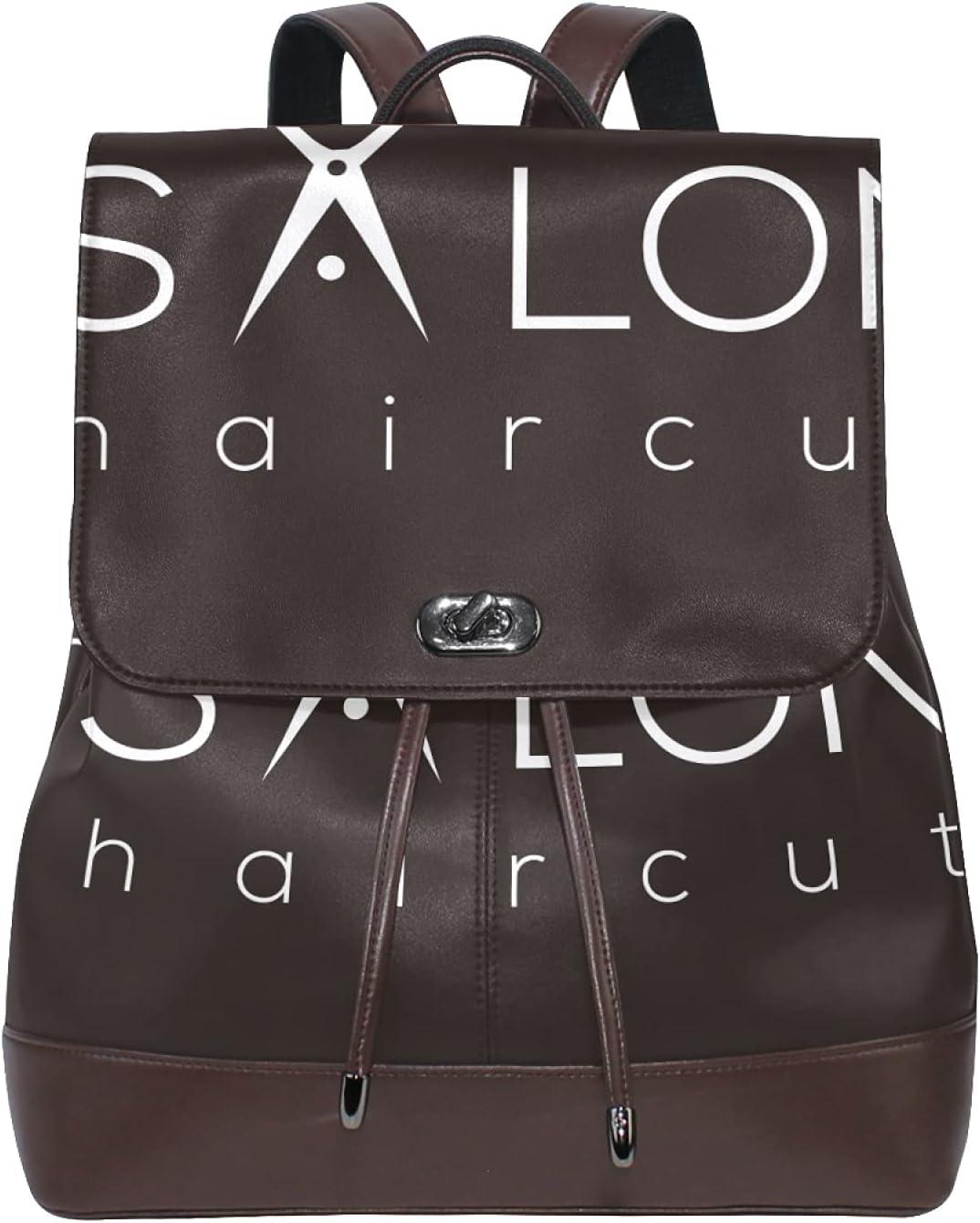 Women Leather Backpack Ladies Fashion Shoulder Bag Large Travel Bag Hair Salon