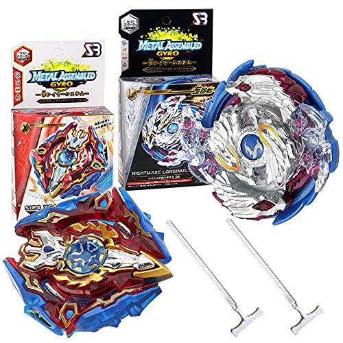 Miotlsy Kampfkreisel Burst 2 Stück Kampfkreisel Set 4D Fusion Modell Metall Masters Beschleunigungslauncher Speed Kreisel Tolles Kinder Spielzeug Geschenk für Geburtstag