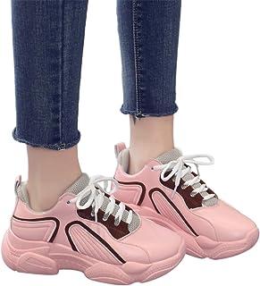 Zapato Deporte Mujer Con Cordones De Suela Gruesa Plataforma De Cuña Zapatillas De Correr Para Aire Libre Deporte Montaña ...