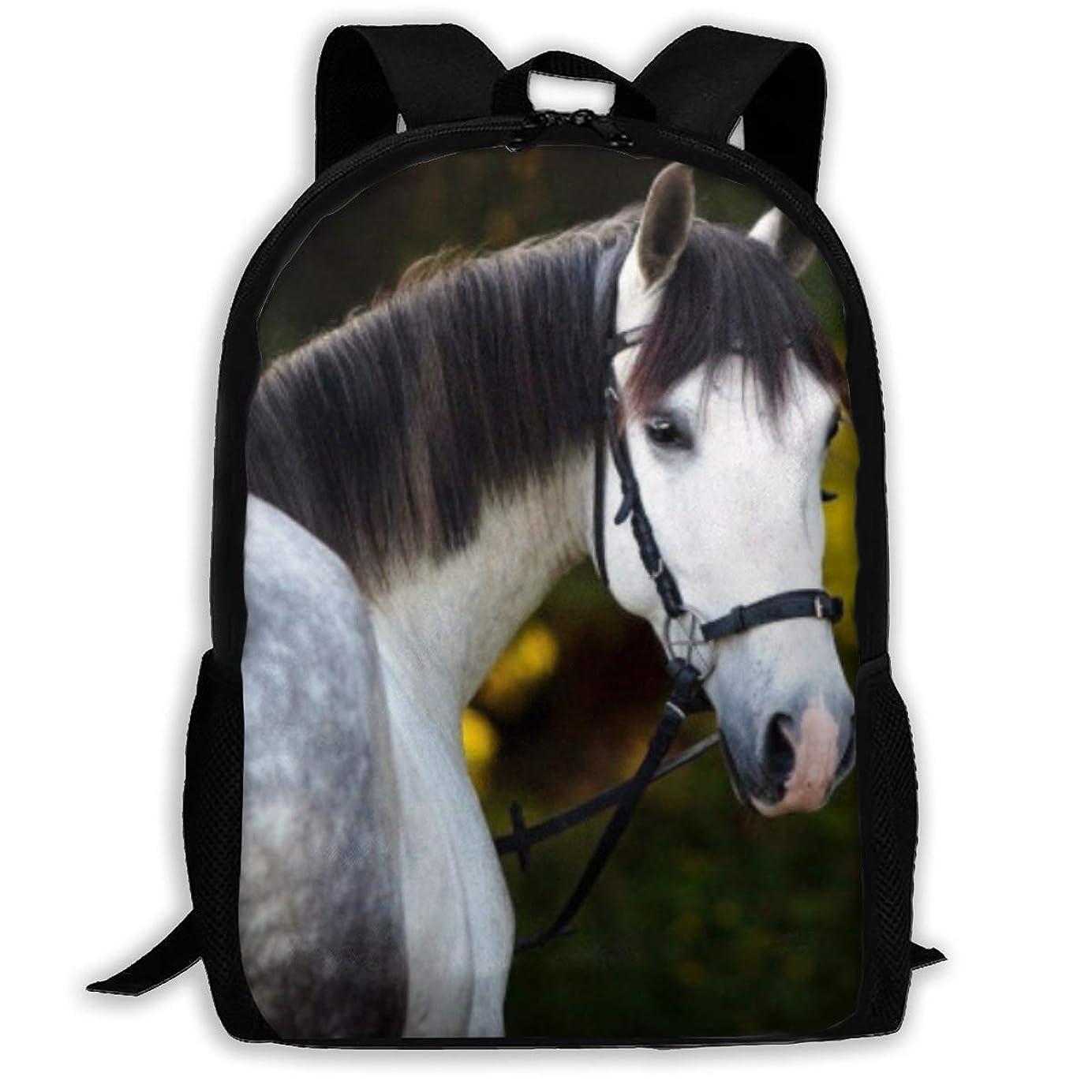 インド主人保持おしゃれ カジュアル 軽く Forest White Horse ショルダーバッグ 大容量 キッズ 通用する リュック 通学 旅行 運動 ランドセル Black